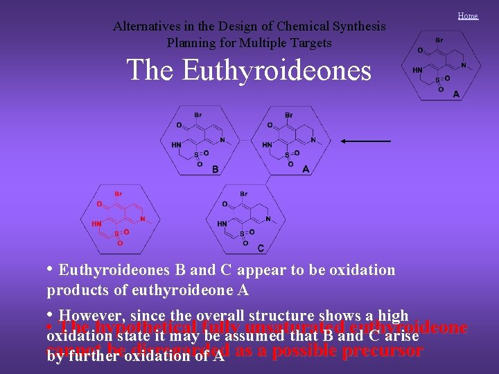 Alternatives in the Design of Chemical Synthesis Planning for Multiple Targets Home The Euthyroideones