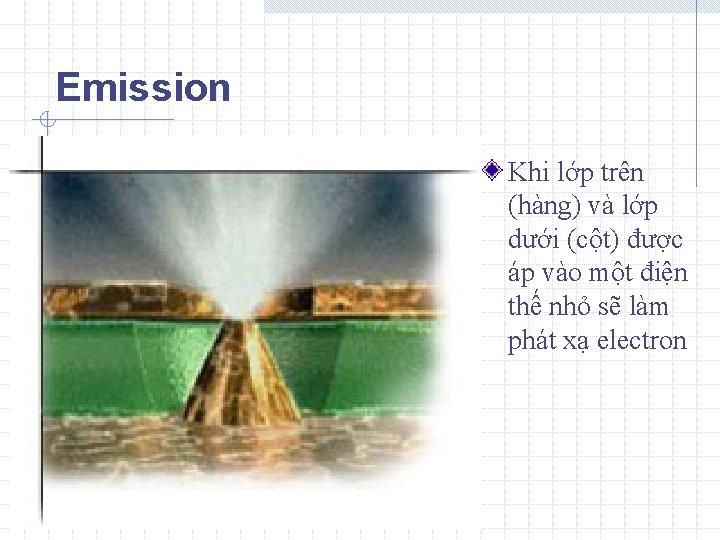 Emission Khi lớp trên (hàng) và lớp dưới (cột) được áp vào một điện