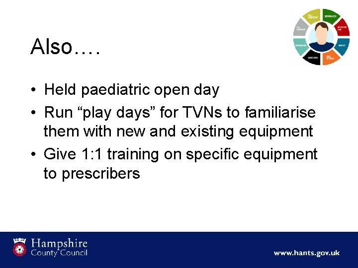 """Also…. • Held paediatric open day • Run """"play days"""" for TVNs to familiarise"""