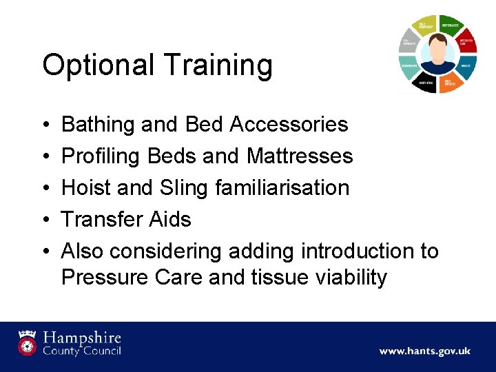 Optional Training • • • Bathing and Bed Accessories Profiling Beds and Mattresses Hoist