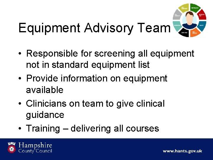Equipment Advisory Team • Responsible for screening all equipment not in standard equipment list