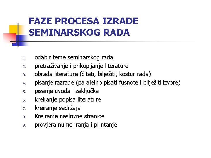 FAZE PROCESA IZRADE SEMINARSKOG RADA 1. 2. 3. 4. 5. 6. 7. 8. 9.