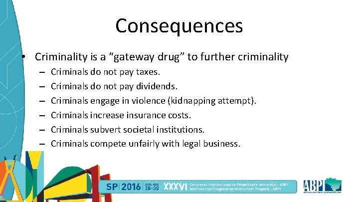 """Consequences • Criminality is a """"gateway drug"""" to further criminality – – – Criminals"""