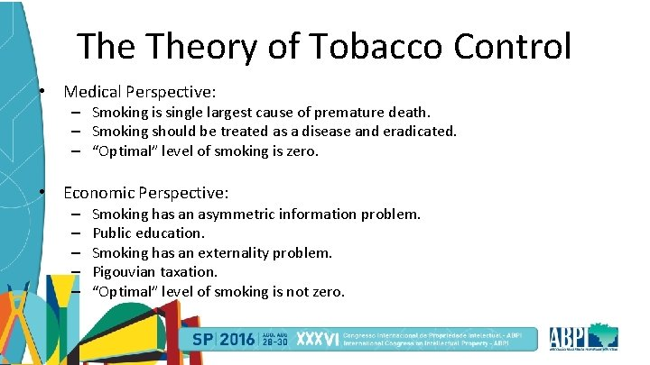 The Theory of Tobacco Control • Medical Perspective: – Smoking is single largest cause