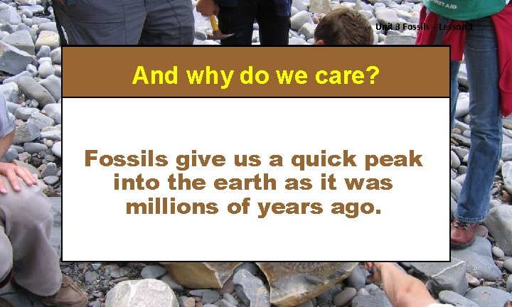 Unit 3 Fossils – Lesson 1 And why do we care? Fossils give us