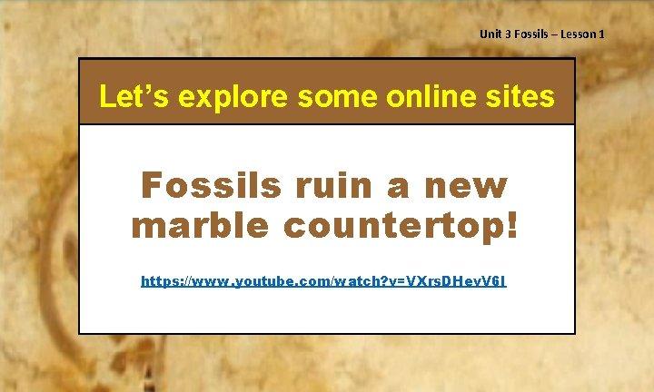 Unit 3 Fossils – Lesson 1 Let's explore some online sites Fossils ruin a
