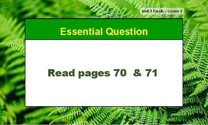 Unit 3 Fossils – Lesson 3 Essential Question Read pages 70 & 71