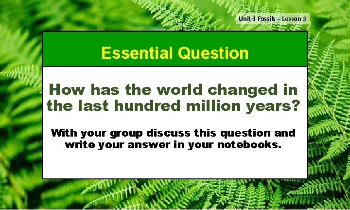 Unit 3 Fossils – Lesson 3 Essential Question How has the world changed in