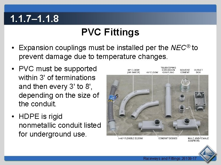 1. 1. 7– 1. 1. 8 PVC Fittings • Expansion couplings must be installed