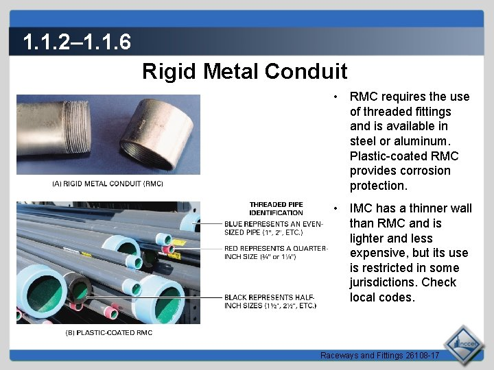 1. 1. 2– 1. 1. 6 Rigid Metal Conduit • RMC requires the use