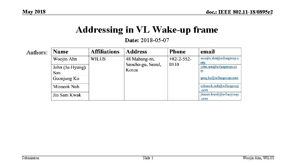 May 2018 doc. : IEEE 802. 11 -18/0895 r 2 Addressing in VL Wake-up