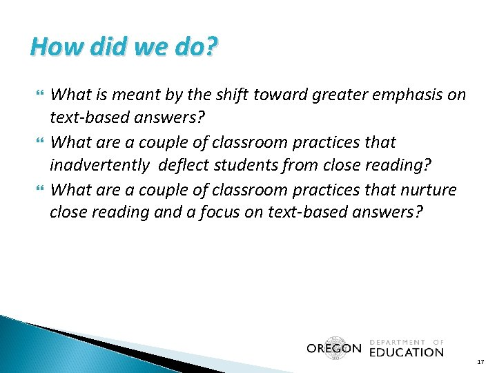 How did we do? What is meant by the shift toward greater emphasis on