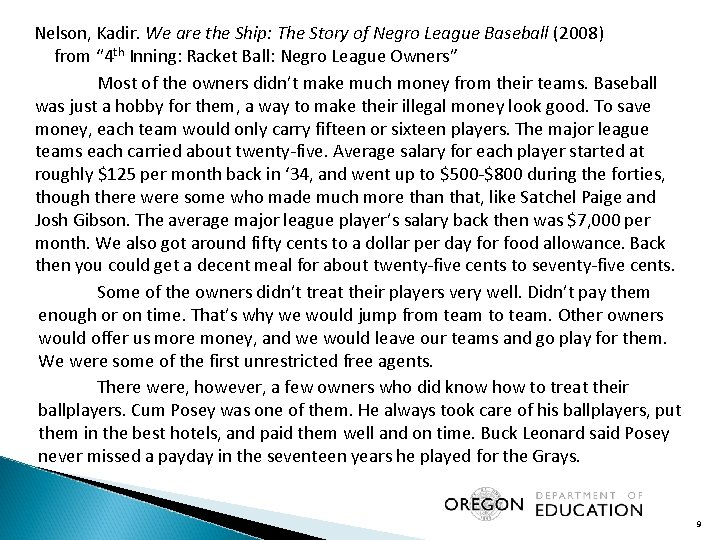 Nelson, Kadir. We are the Ship: The Story of Negro League Baseball (2008) from