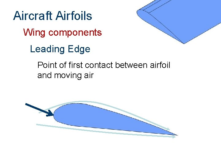 Aircraft Airfoils Wing components Leading Edge Point of first contact between airfoil and moving