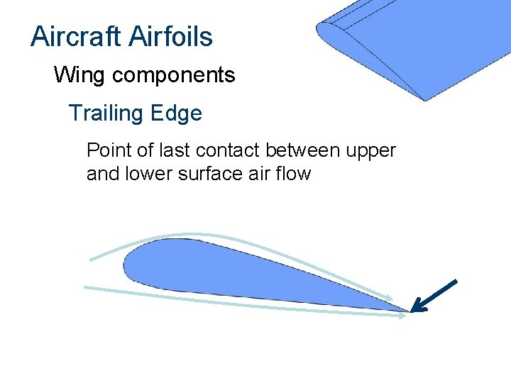 Aircraft Airfoils Wing components Trailing Edge Point of last contact between upper and lower