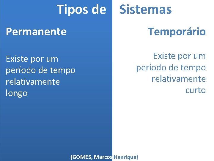 Tipos de Sistemas Temporário Permanente Existe por um período de tempo relativamente longo Existe