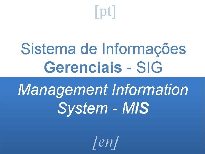 [pt] Sistema de Informações Gerenciais - SIG Management Information System - MIS [en]
