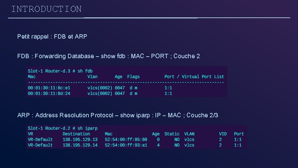 INTRODUCTION Petit rappel : FDB et ARP FDB : Forwarding Database – show fdb