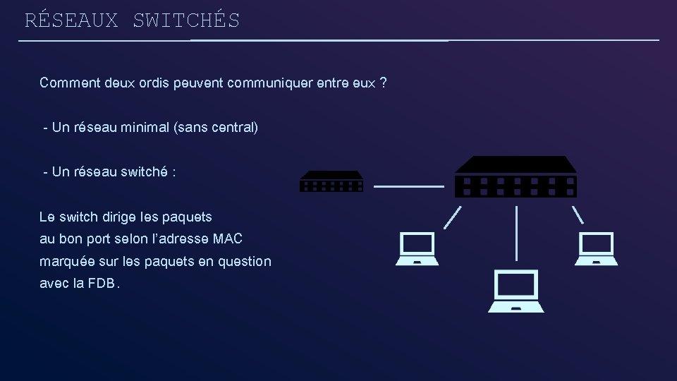 RÉSEAUX SWITCHÉS Comment deux ordis peuvent communiquer entre eux ? - Un réseau minimal