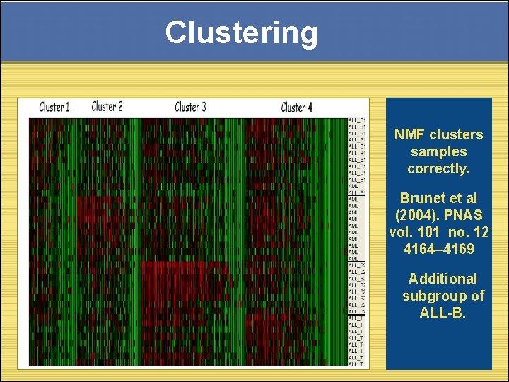 Clustering NMF clusters samples correctly. Brunet et al (2004). PNAS vol. 101 no. 12