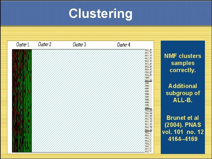 Clustering NMF clusters samples correctly. Additional subgroup of ALL-B. Brunet et al (2004). PNAS
