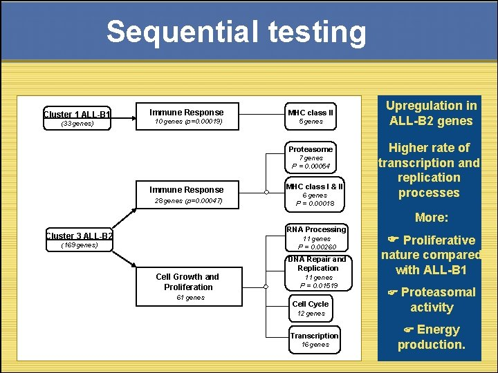 Sequential testing Cluster 1 ALL-B 1 (33 genes) Immune Response MHC class II 10