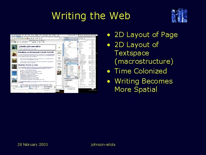 Writing the Web • 2 D Layout of Page • 2 D Layout of