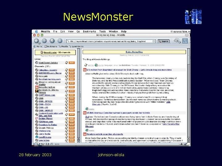 News. Monster 28 february 2003 johnson-eilola