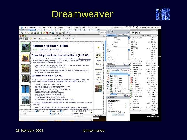 Dreamweaver 28 february 2003 johnson-eilola