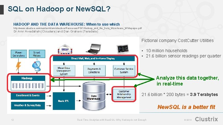 SQL on Hadoop or New. SQL? HADOOP AND THE DATA WAREHOUSE: When to use