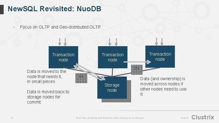 New. SQL Revisited: Nuo. DB • Focus on OLTP and Geo-distributed OLTP Transaction node