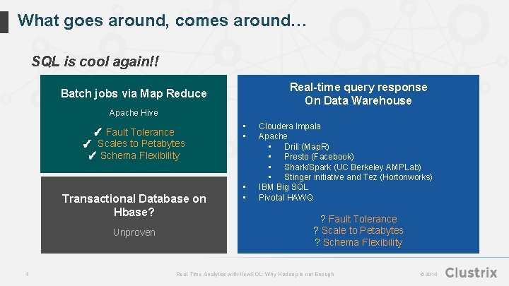 What goes around, comes around… SQL is cool again!! Real-time query response On Data