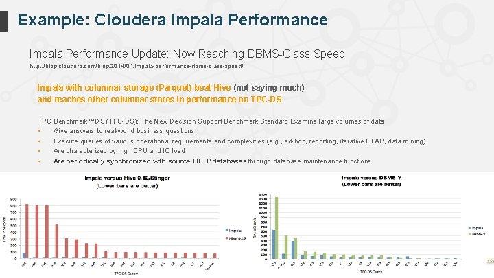 Example: Cloudera Impala Performance Update: Now Reaching DBMS-Class Speed http: //blog. cloudera. com/blog/2014/01/impala-performance-dbms-class-speed/ Impala