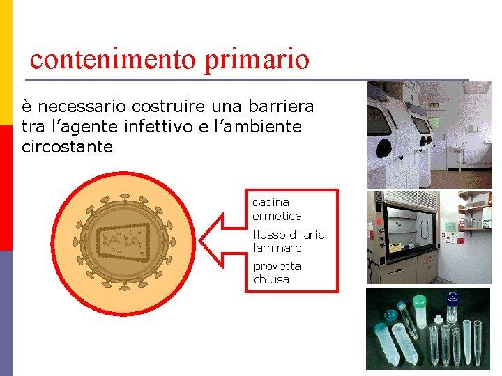 contenimento primario è necessario costruire una barriera tra l'agente infettivo e l'ambiente circostante cabina