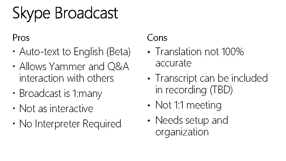 Pros Cons Auto-text to English (Beta) Allows Yammer and Q&A interaction with others Broadcast