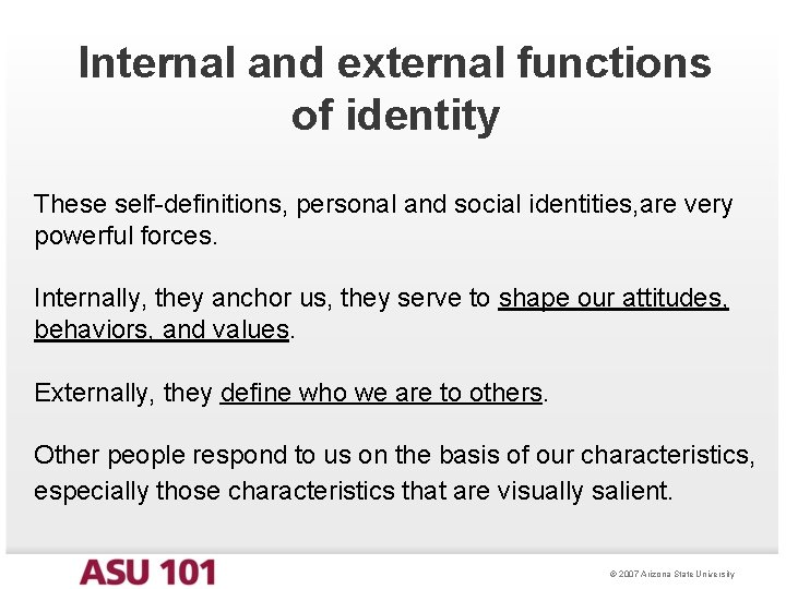Internal and external functions of identity These self-definitions, personal and social identities, are very