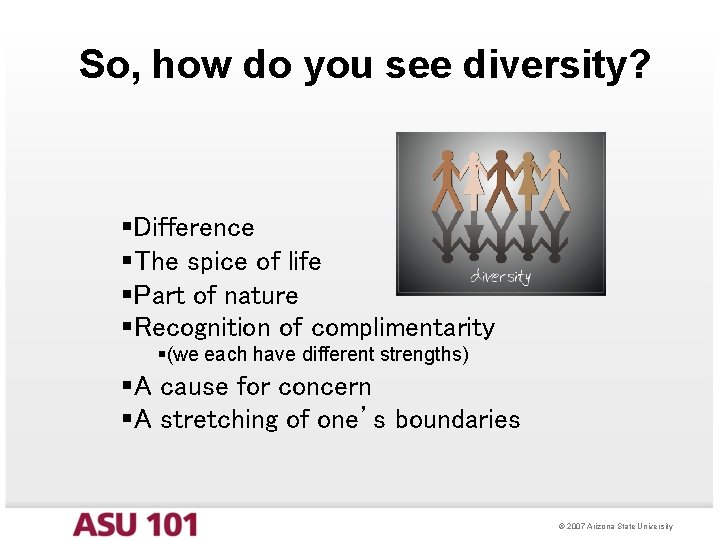 So, how do you see diversity? §Difference §The spice of life §Part of nature