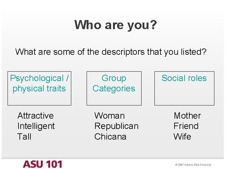 Who are you? What are some of the descriptors that you listed? Psychological /