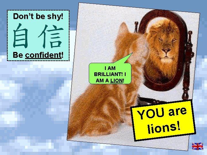 Don't be shy! Be confident! I AM BRILLIANT! I AM A LION! e r