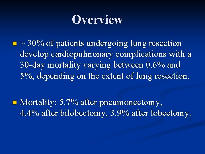 Overview n ~ 30% of patients undergoing lung resection develop cardiopulmonary complications with a