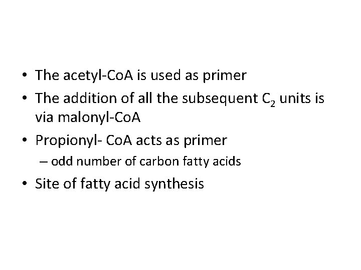 • The acetyl-Co. A is used as primer • The addition of all