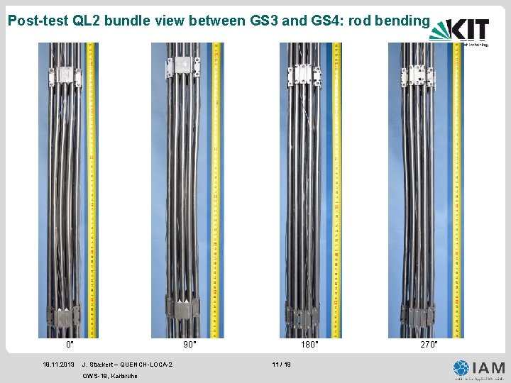 Post-test QL 2 bundle view between GS 3 and GS 4: rod bending 0°