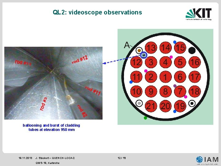 QL 2: videoscope observations ballooning and burst of cladding tubes at elevation 950 mm