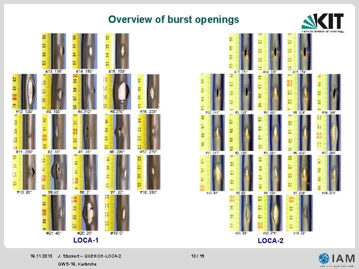 Overview of burst openings LOCA-1 19. 11. 2013 J. Stuckert – QUENCH-LOCA-2 QWS-19, Karlsruhe