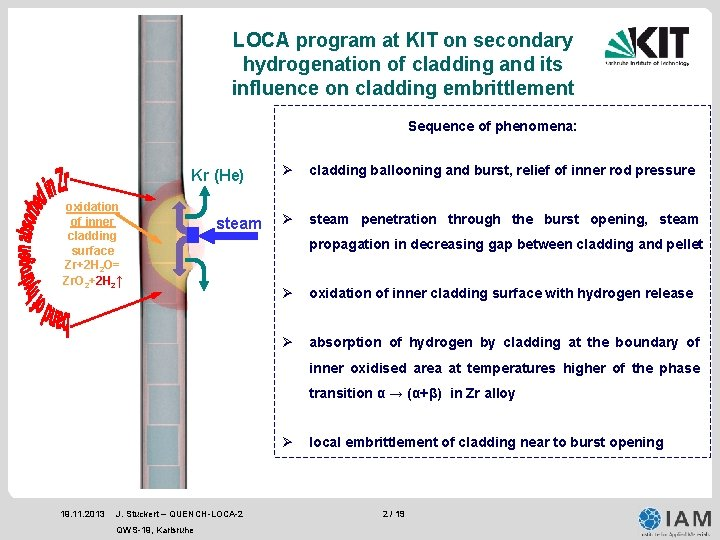 LOCA program at KIT on secondary hydrogenation of cladding and its influence on cladding