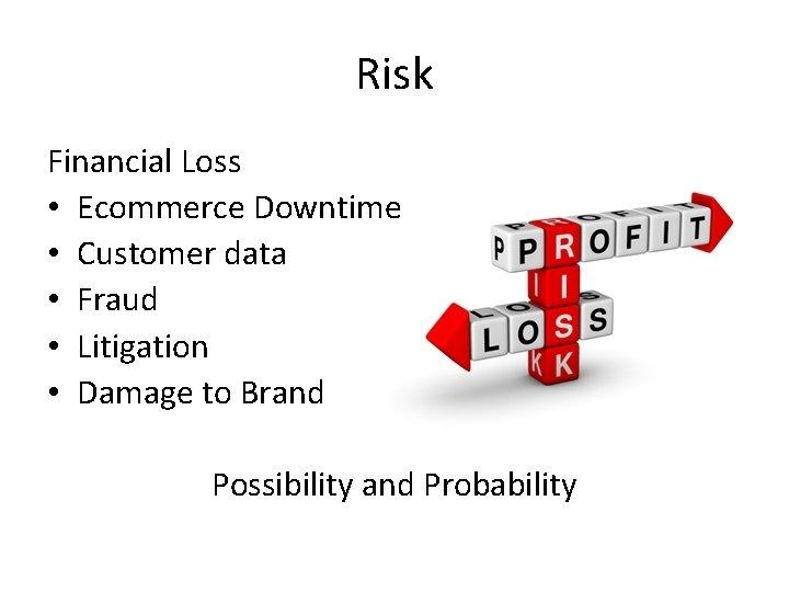 Risk Financial Loss • Ecommerce Downtime • Customer data • Fraud • Litigation •