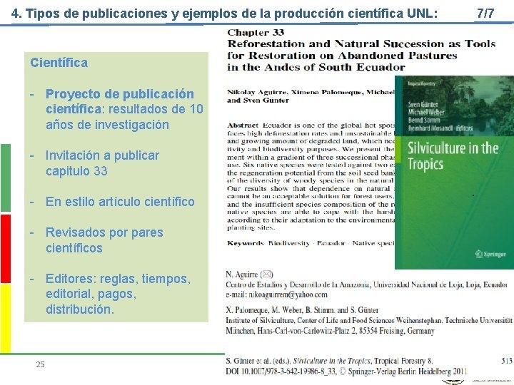4. Tipos de publicaciones y ejemplos de la producción científica UNL: Científica - Proyecto