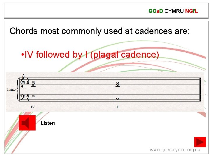 GCa. D CYMRU NGf. L Chords most commonly used at cadences are: • IV