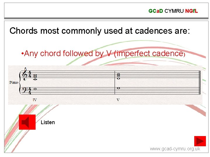 GCa. D CYMRU NGf. L Chords most commonly used at cadences are: • Any