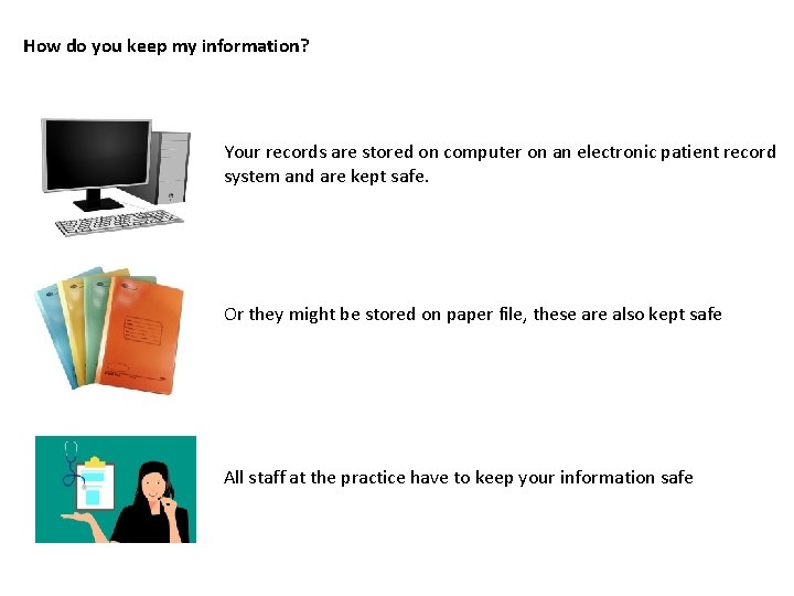 How do you keep my information? Your records are stored on computer on an